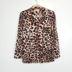 Soma Longsleeve Leopard Print Pajama Top Size Med